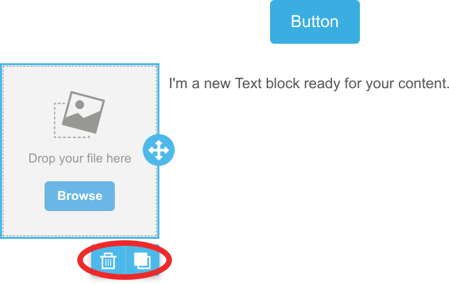 Deleting and duplicating content blocks